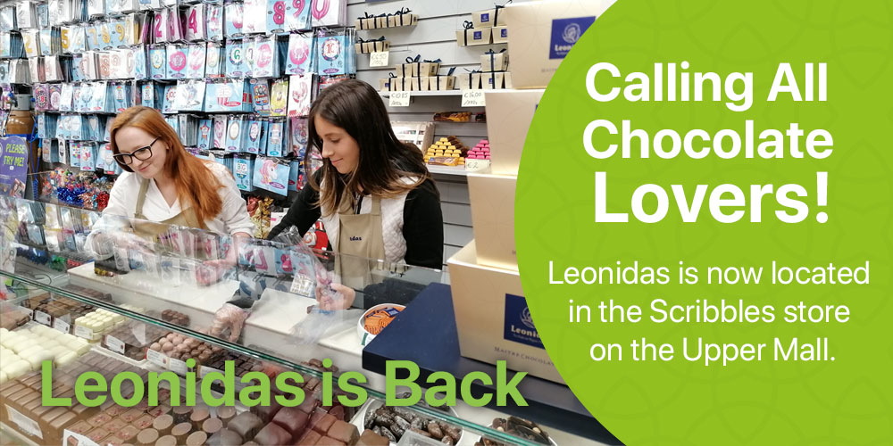 Calling all chocolate lovers Leonidas is back! Located in the Scribbles store on the Upper Mall